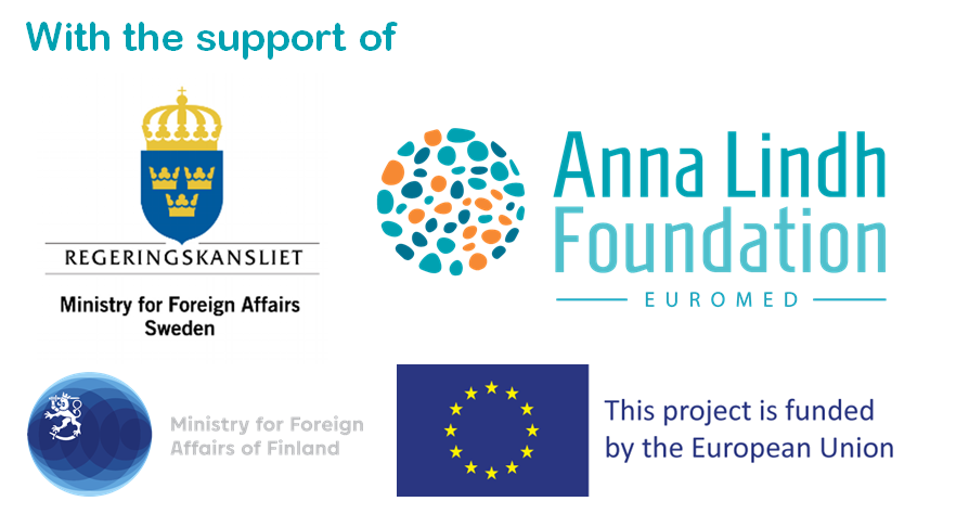 Logos of the Swedish Foreign Ministry, Finnish Foreign Ministry, Anna Lindh Foundation and the European Commission.