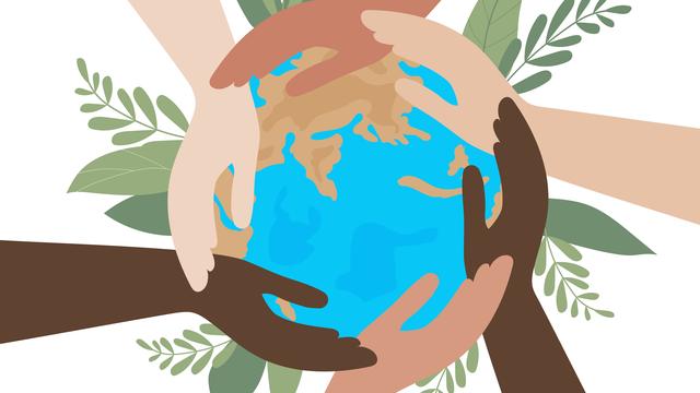 Piirros maapallosta, jonka ympärillä on eri väristen ihmisten käsiä. Maapallon taustalla vihreitä kasveja.